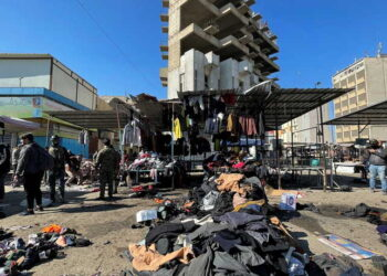 The site of a suicide attack in a central market is seen in Baghdad, Iraq January 21, 2021. REUTERS/Thaier al-Sudani